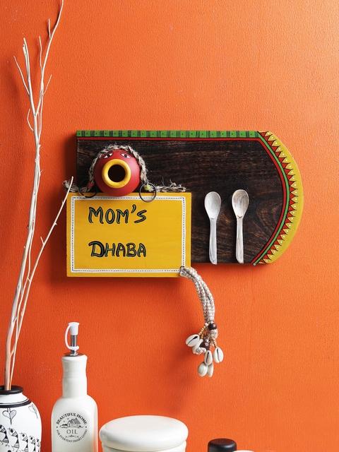 VarEesha Brown & Yellow Hand Painted Mom's Dhaba Kitchen Wall Hanging