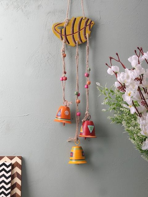 VarEesha Mustard & Pink Wall Hanging Bell Wind chime