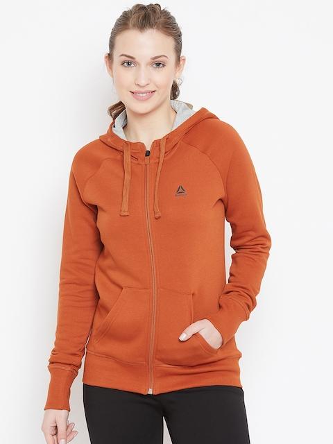 Reebok Women Rust Solid Hooded Sweatshirt