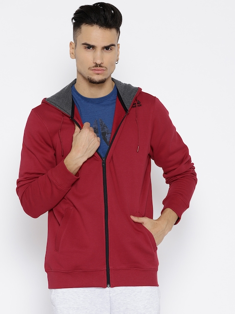 Reebok Men Red Solid REEBOK CORE Hooded Sweatshirt