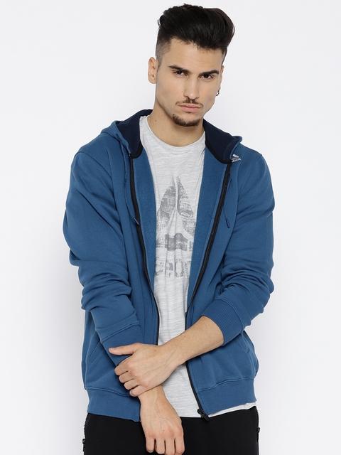 Reebok Men Blue Solid REEBOK CORE Hooded Sweatshirt