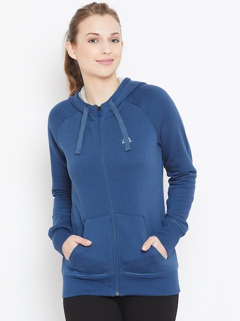 Reebok Women Navy Blue Solid Hooded Sweatshirt