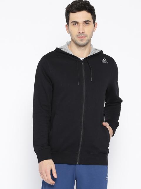 Reebok Men Black FON BAS Solid Hooded Sweatshirt