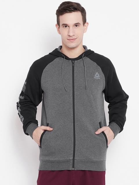 Reebok Men Grey & Black Solid Hooded Sweatshirt