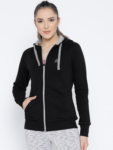 Reebok Women Black Core Solid Hooded Training Sweatshirt