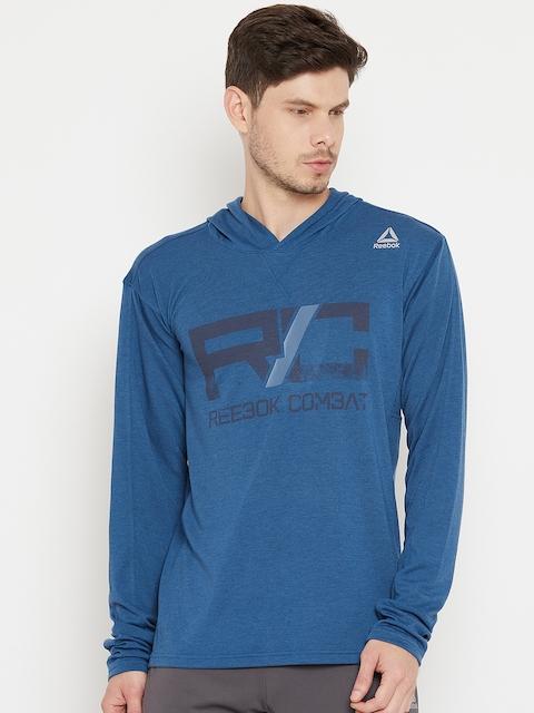 Reebok Men Blue Printed Combat Lightweight Hoodie Sweatshirt