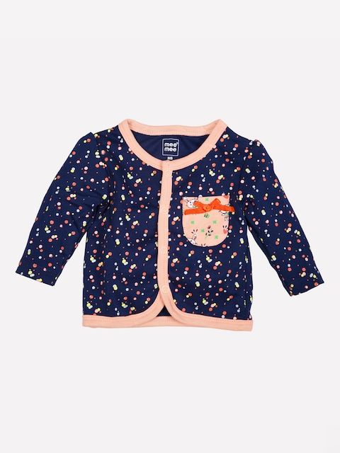 MeeMee Infant Girls Navy Blue Printed Jhabla