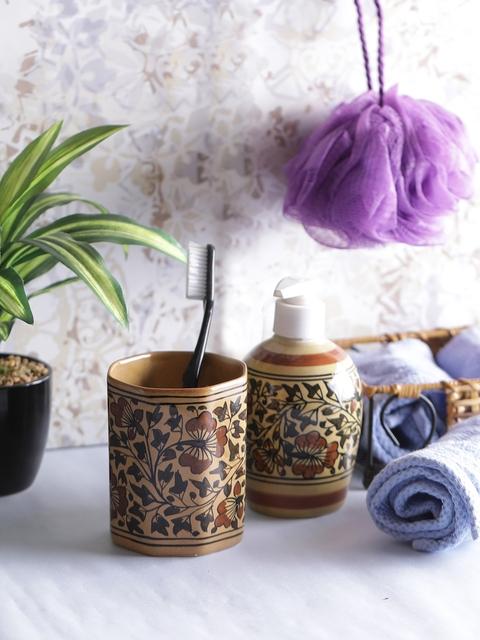 VarEesha Brown Set of 2 Floral Print Bathroom Accessories