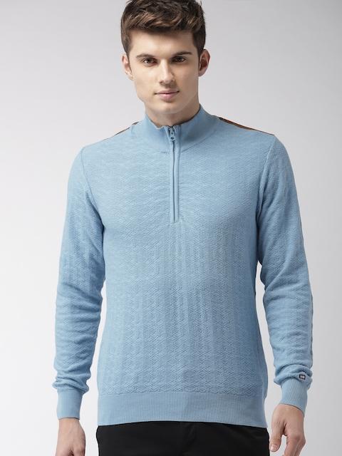 Arrow Sport Men Blue Self Design Pullover