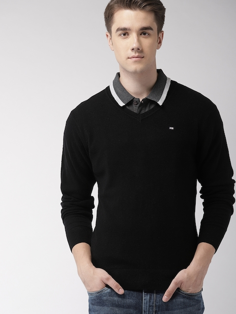 Arrow Sport Men Black Solid Pullover