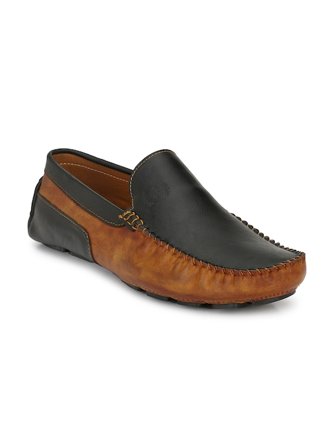 Prolific Men Black & Brown Driving Shoes