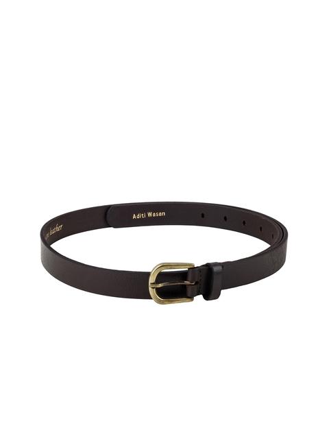 Aditi Wasan Women Coffee Brown Leather Solid Slim Belt