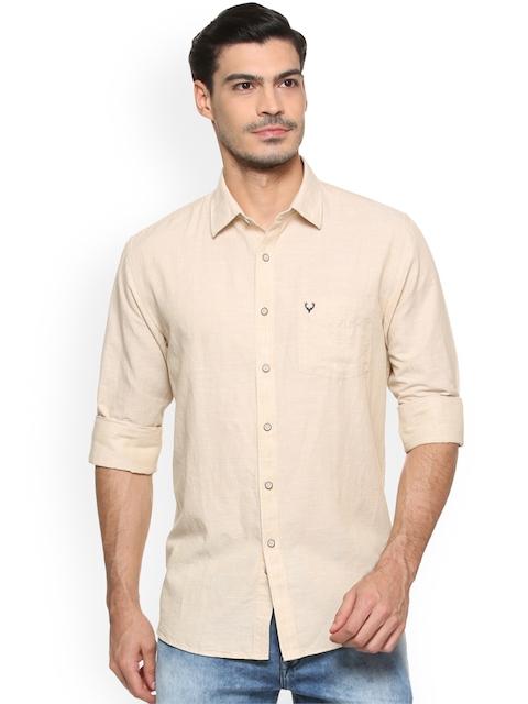 Allen Solly Men Beige Slim Fit Self Design Casual Shirt