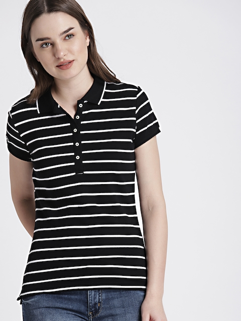GAP Women Black & White Stripe Polo