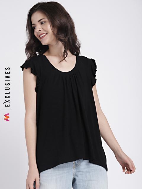 GAP Womens Black Short Flutter Sleeve Top