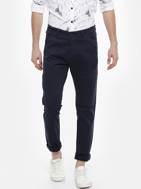 SPYKAR Men Navy Blue Slim Fit Solid Trousers