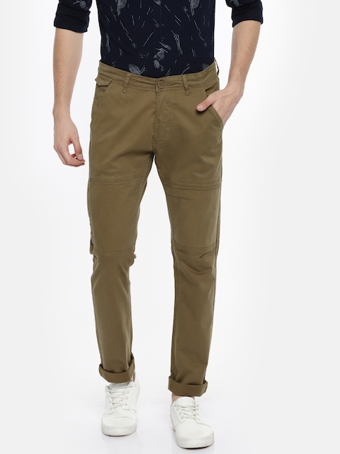 SPYKAR Men Khaki Slim Fit Solid Trouser