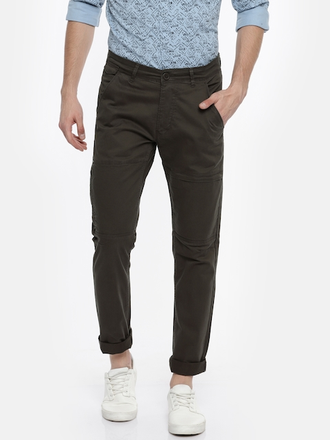 SPYKAR Men Charcoal Grey Slim Fit Solid Trousers