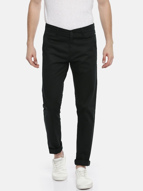 SPYKAR Men Black Slim Fit Solid Regular Trousers