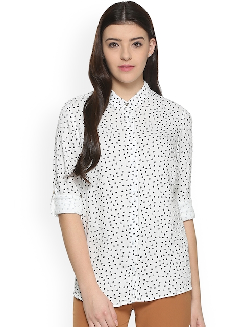 Allen Solly Woman Women White & Black Regular Fit Printed Casual Shirt