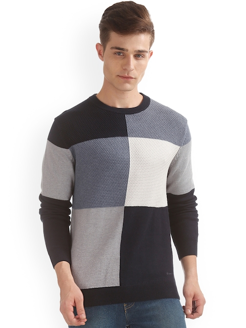 GANT Men Navy Blue & Black Colourblocked Pullover
