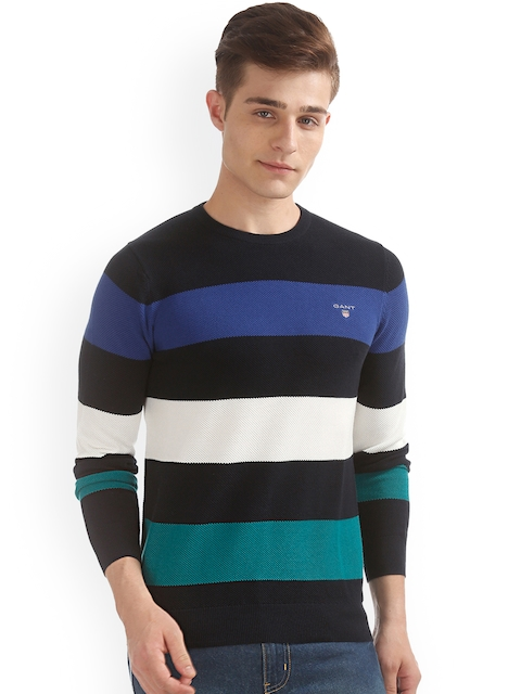 GANT Men Navy Blue & Off-White Striped Pullover