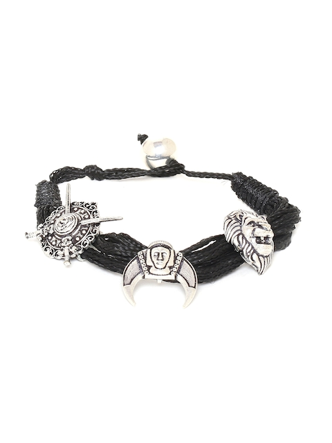 Dare by Voylla Men Silver-Toned & Black Fabric Rhodium-Plated Antique Charm Bracelet