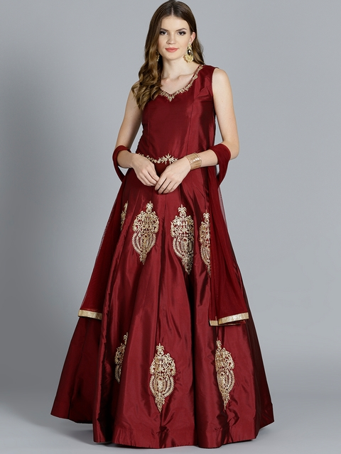 Chhabra 555 Maroon & Golden Zari Work Made to Measure Cocktail Gown with Dupatta