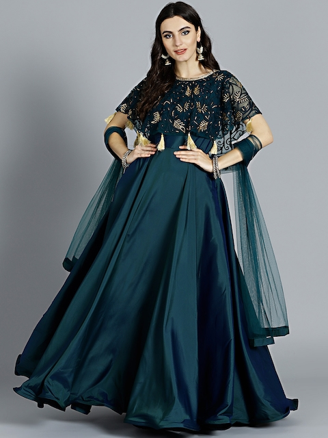 Chhabra 555 Teal Green Solid Hand Work Stitched Made to Measure Cocktail Gown with Dupatta