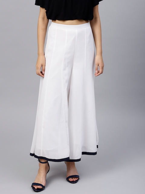 Pannkh Women White Flared Solid Palazzos