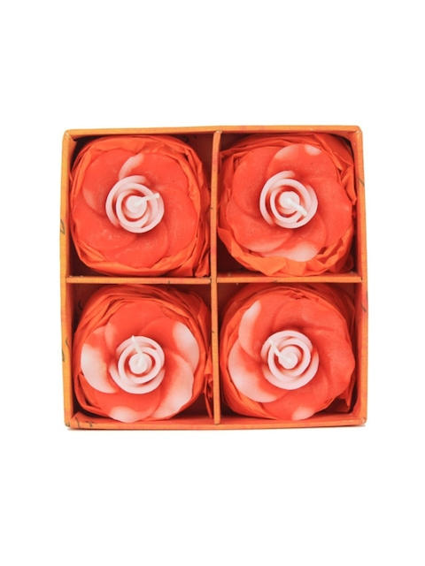 Soulflower Lemongrass Aroma Pack of 4 Rose Shape Small Floating Candles