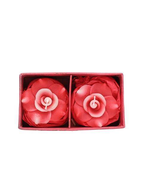 Soulflower Rose Aroma Pack of 2 Rose Shape Medium Floating Candle