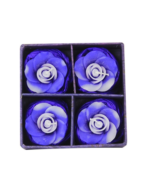 Soulflower Walk in the Wood Aroma Pack of 4 Rose Shape Small Floating Candle