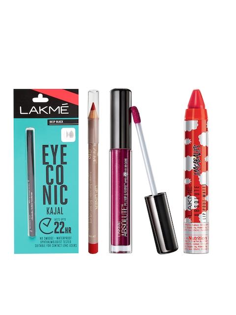 Lakme Pack of Lip Gloss, Red Alert Lip Liner, Black Kajal & Smokey Red Masaba Lip Color
