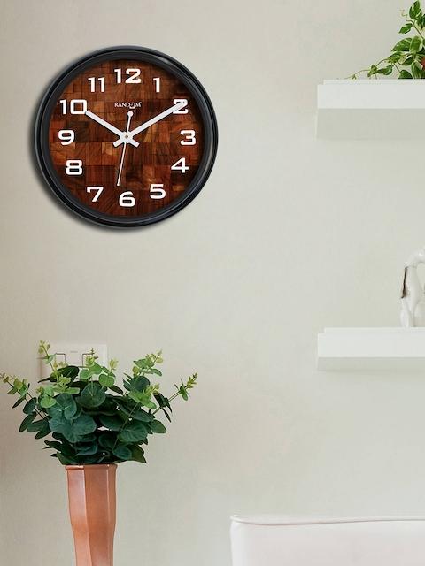 RANDOM Brown & Black Round Printed Analogue Wall Clock