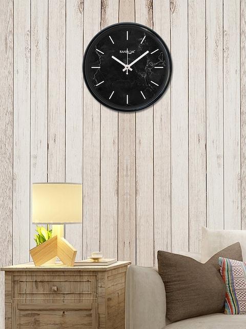 RANDOM Black Round Printed Analogue Wall Clock