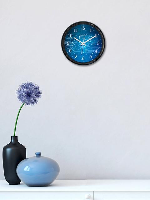 RANDOM Blue Round Printed Analogue Wall Clock
