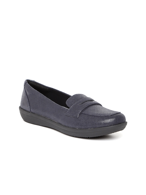 Clarks Women Navy Textured Loafers
