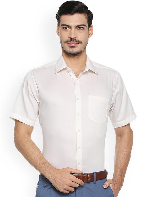 Van Heusen Men Beige Regular Fit Self Design Formal Shirt