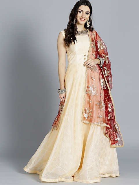Chhabra 555 Cream & Red Embellished Made to Measure Cocktail Gown with Dupatta