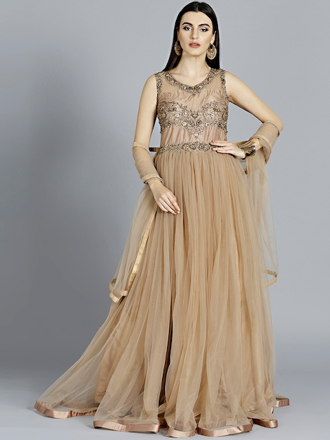 Chhabra 555 Beige Embellished Made to Measure Cocktail Gown with Dupatta