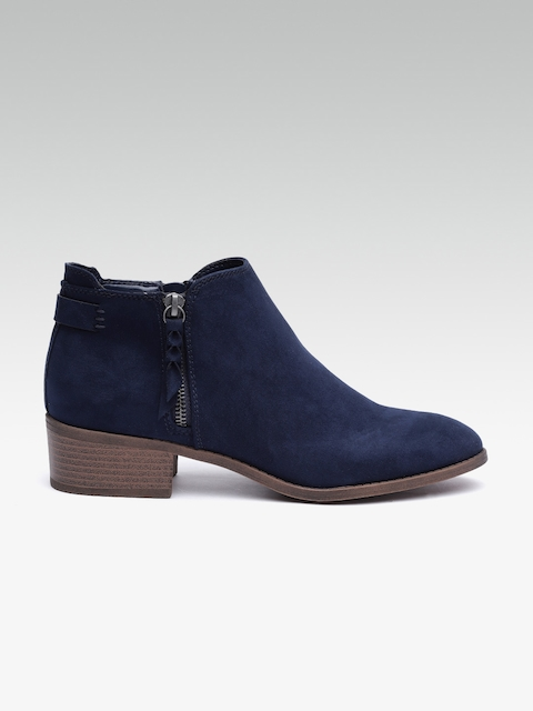 DOROTHY PERKINS Women Navy Blue Solid Mid-Top Heeled Boots