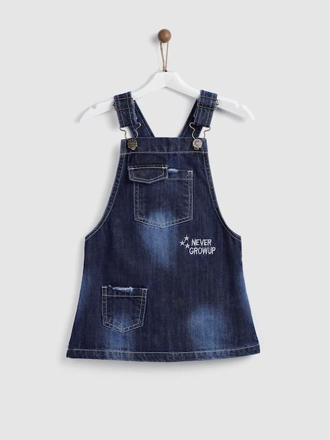 YK Girls Navy Blue Washed Denim Pinafore Dress