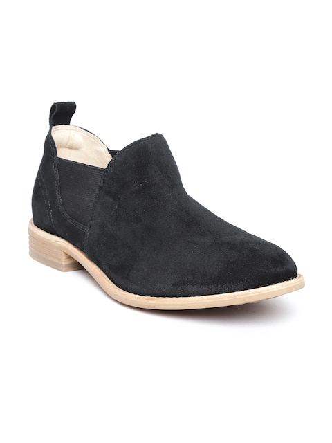 Clarks Women Black Suede Flat Boots