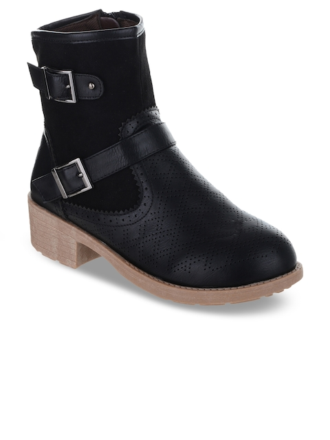 SHUZ TOUCH Women Black Solid Mid-Top Heeled Boots