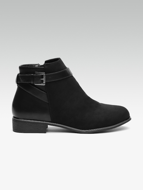 DOROTHY PERKINS Women Black Solid Synthetic Mid-Top Flat Boots
