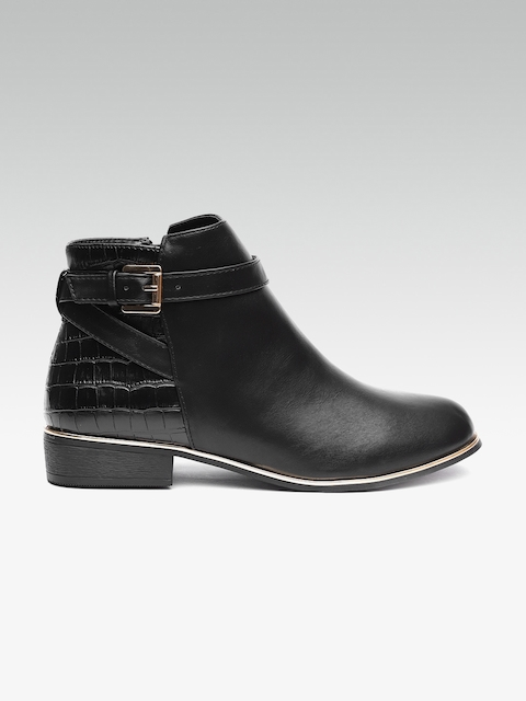 DOROTHY PERKINS Women Black Textured Detail Mid-Top Flat Boots