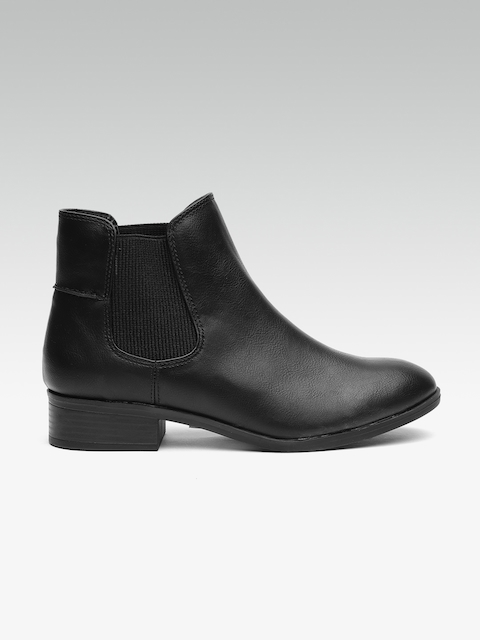 DOROTHY PERKINS Women Black Solid Mid-Top Heeled Boots