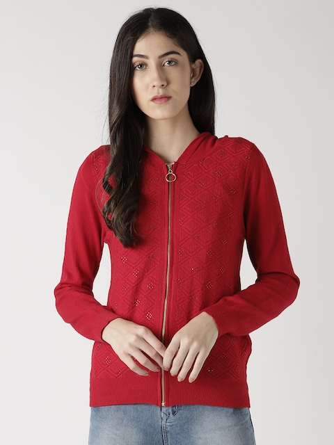 Fort Collins Women Red Self-Design Embellished Hooded Cardigan