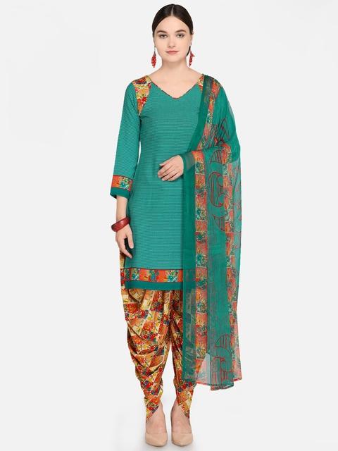Satrani Teal Green & Orange  Unstitched Dress Material